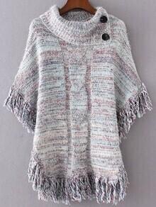 Pull poncho tricoté avec frange - bleu clair