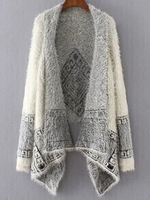 White Aztec Print Asymmetrical Poncho Sweater
