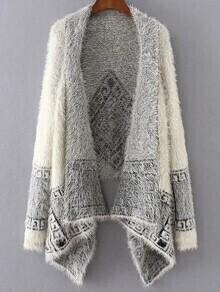 Poncho Pullover Asymmetrical Aztec Druck -weiß