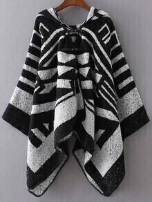 Poncho con capucha - negro blanco