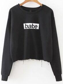 Sweatshirt Ausgefranste Saum Buchstaben Druck-schwarz