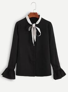 Black Contrast Neck Self Tie Ruffle Blouse