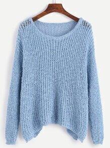 Jersey con hombros caídos suelto - azul