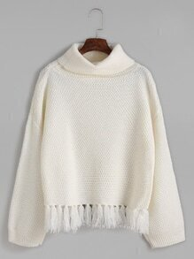 Beige Turtleneck Drop Shoulder Fringe Hem Sweater