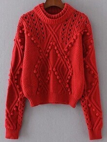 Red Hollow Out Pom Pom Sweater