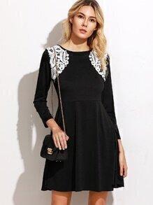 Contrast Crochet Trim A-Line Dress