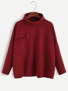 Burgundy Turtleneck Drop Shoulder Pocket T-shirt