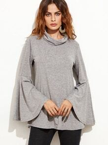 Grey Cowl Neck Bell Sleeve Wrap Back T-shirt
