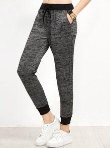 Pantalons contrasté taille avez lacet
