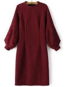 Burgundy Crew Neck Lantern Sleeve Slit Dress