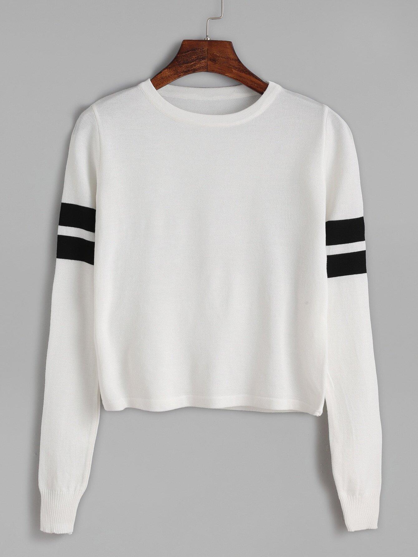 White Striped Trim Long Sleeve Knitwear