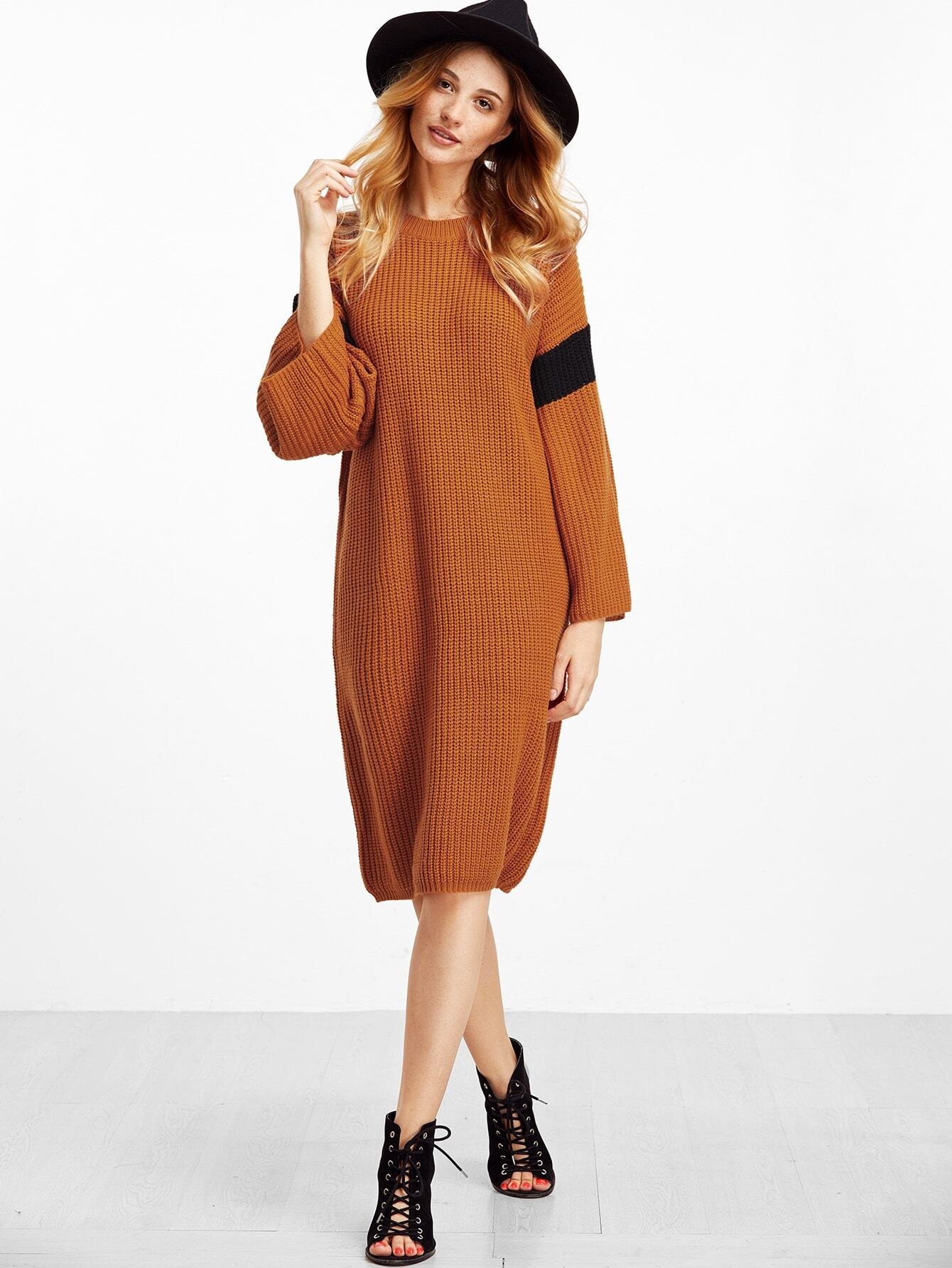 Brown Contrast Dropped Shoulder Seam Sweater Dress