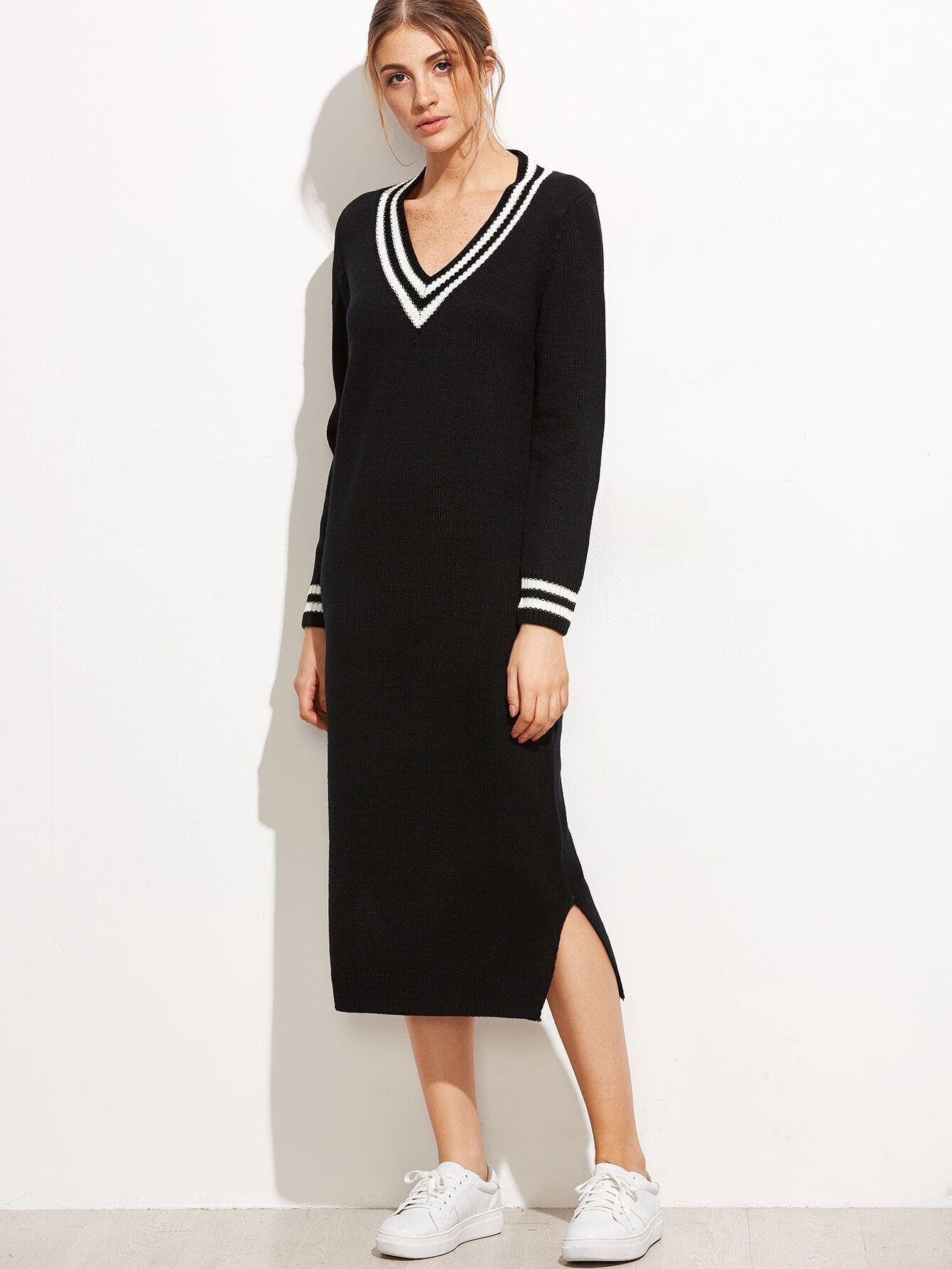 Black V Neck Striped Trim Split Side Sweater Dress RDRE160929105