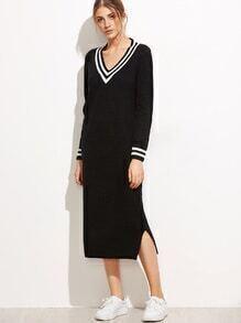 Black V Neck Striped Trim Split Side Sweater Dress