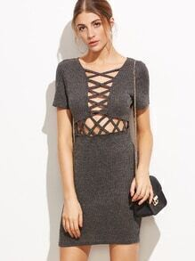 Grey Criss Cross Front Hollow Out Sweater Dress