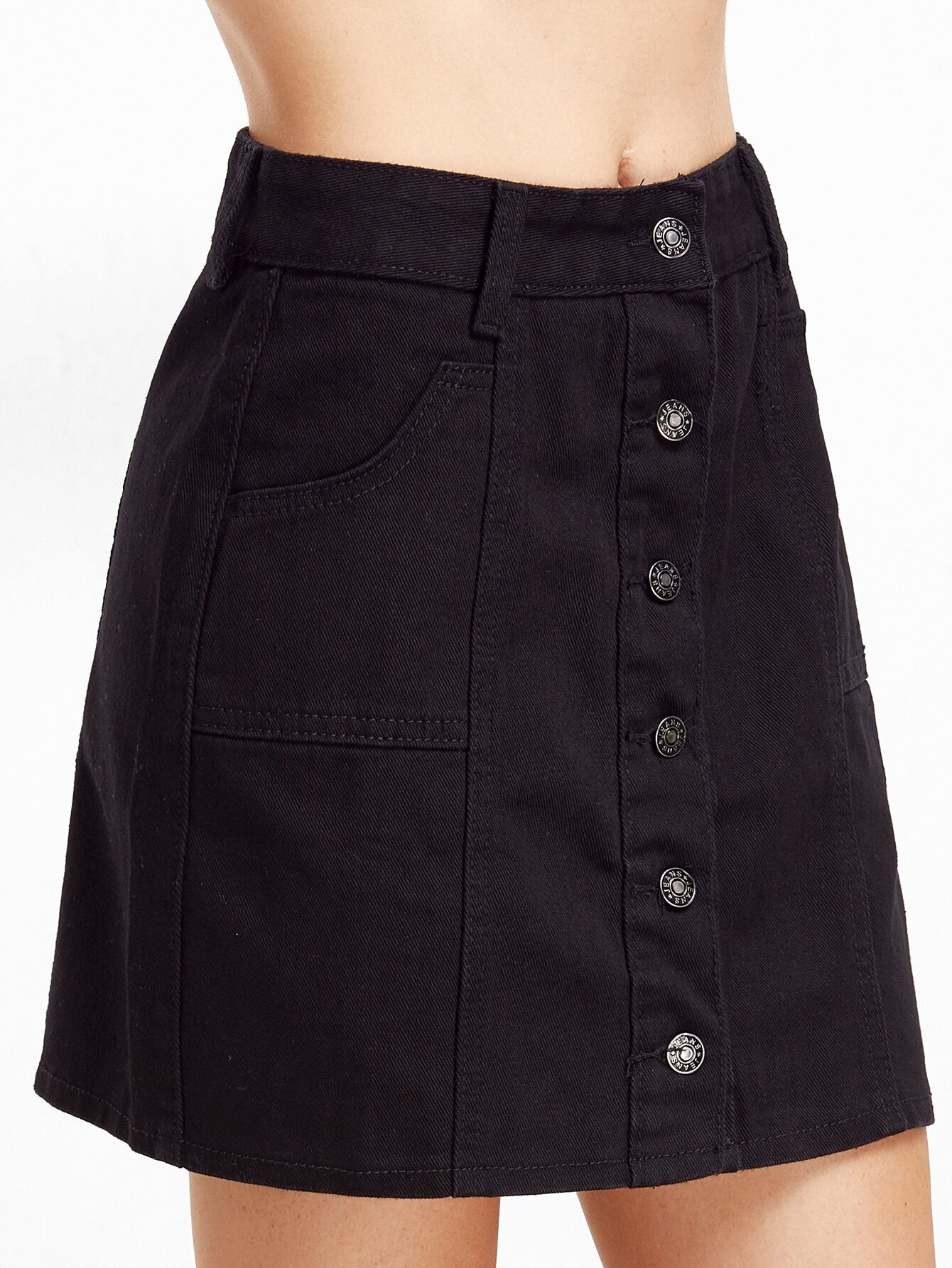 black single breasted pockets a line skirt