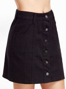 Black Single Breasted Pockets A Line Skirt