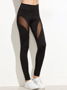 Black Mesh Contrast Skinny Leggings