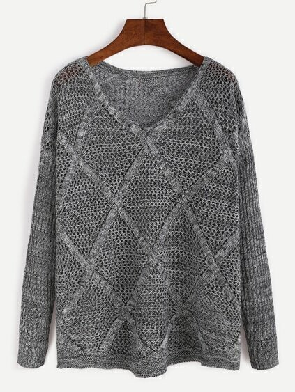 Grey Drop Shoulder Open Knit Diamondback Sweater
