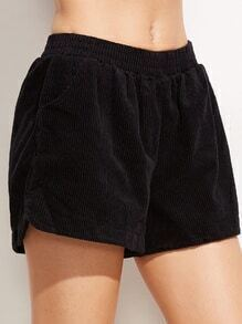 Black Corduroy Elastic Waist Shorts