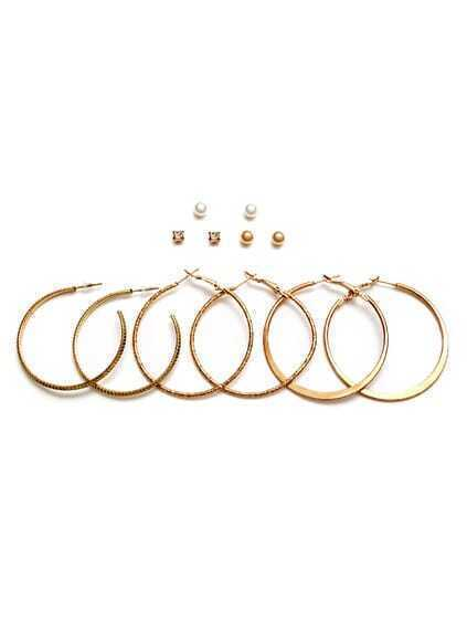 Gold Plated Rhinestone Hoop Earrings Set