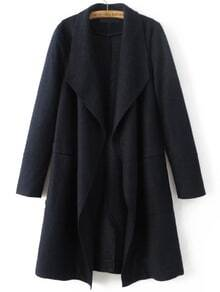 Navy Waterfall Collar Wool Blend Coat