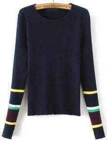 Navy Striped Trim Split Cuff Knitwear