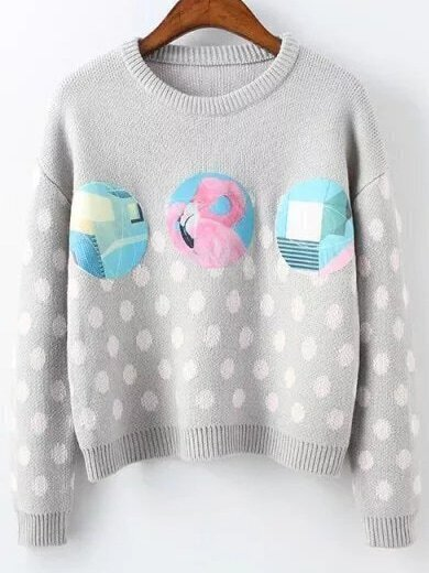 Grey Polka Dot Ribbed Trim Patch Sweater