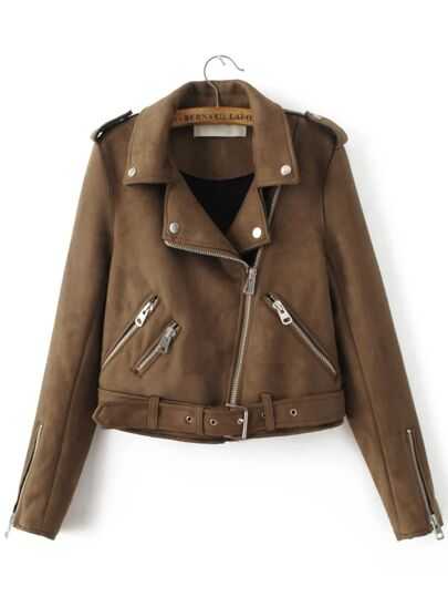 Brown Oblique Zipper Suede Jacket With Buckle
