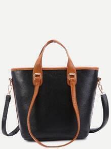 Black Pebbled PU Handbag With Convertible Strap