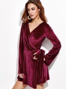 Burgundy V Neck Self Tie Velvet Wrap Dress