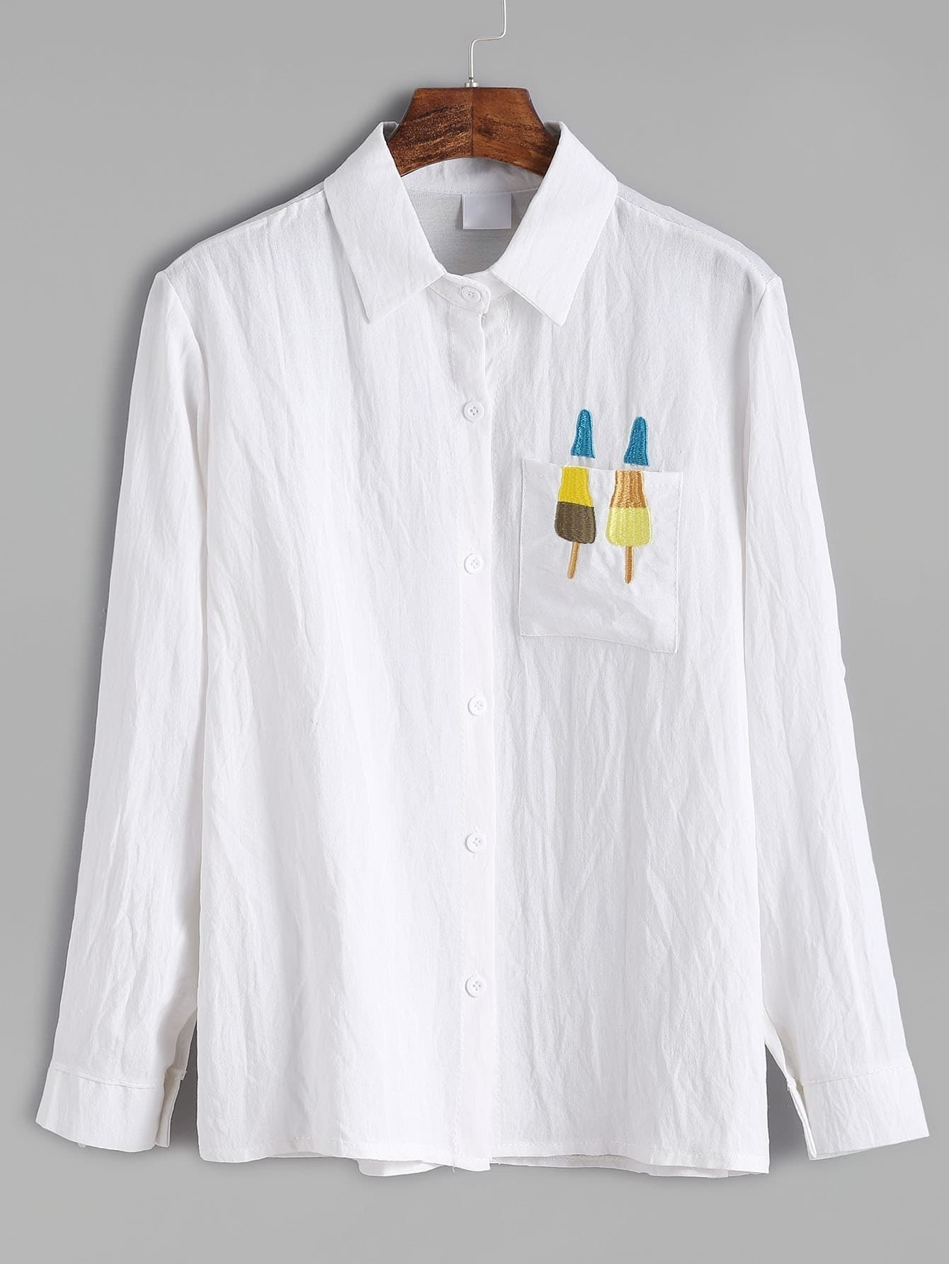 White popsicles embroidered shirt with pocketfor women romwe