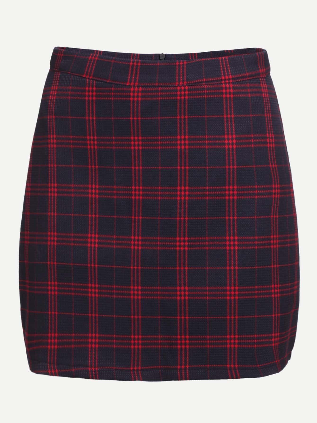 jupe en tartan dos avec zip rouge french romwe. Black Bedroom Furniture Sets. Home Design Ideas