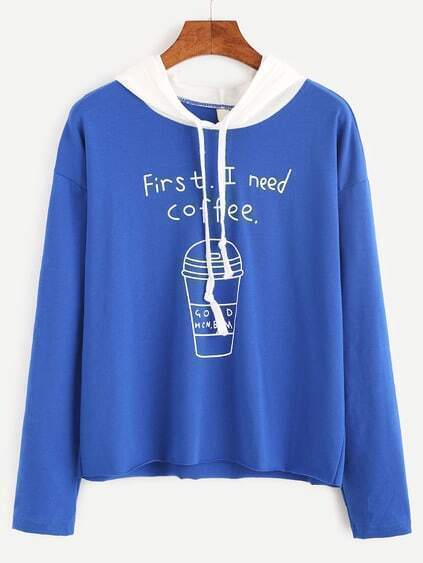 Blue Contrast Hooded Letter Print Sweatshirt