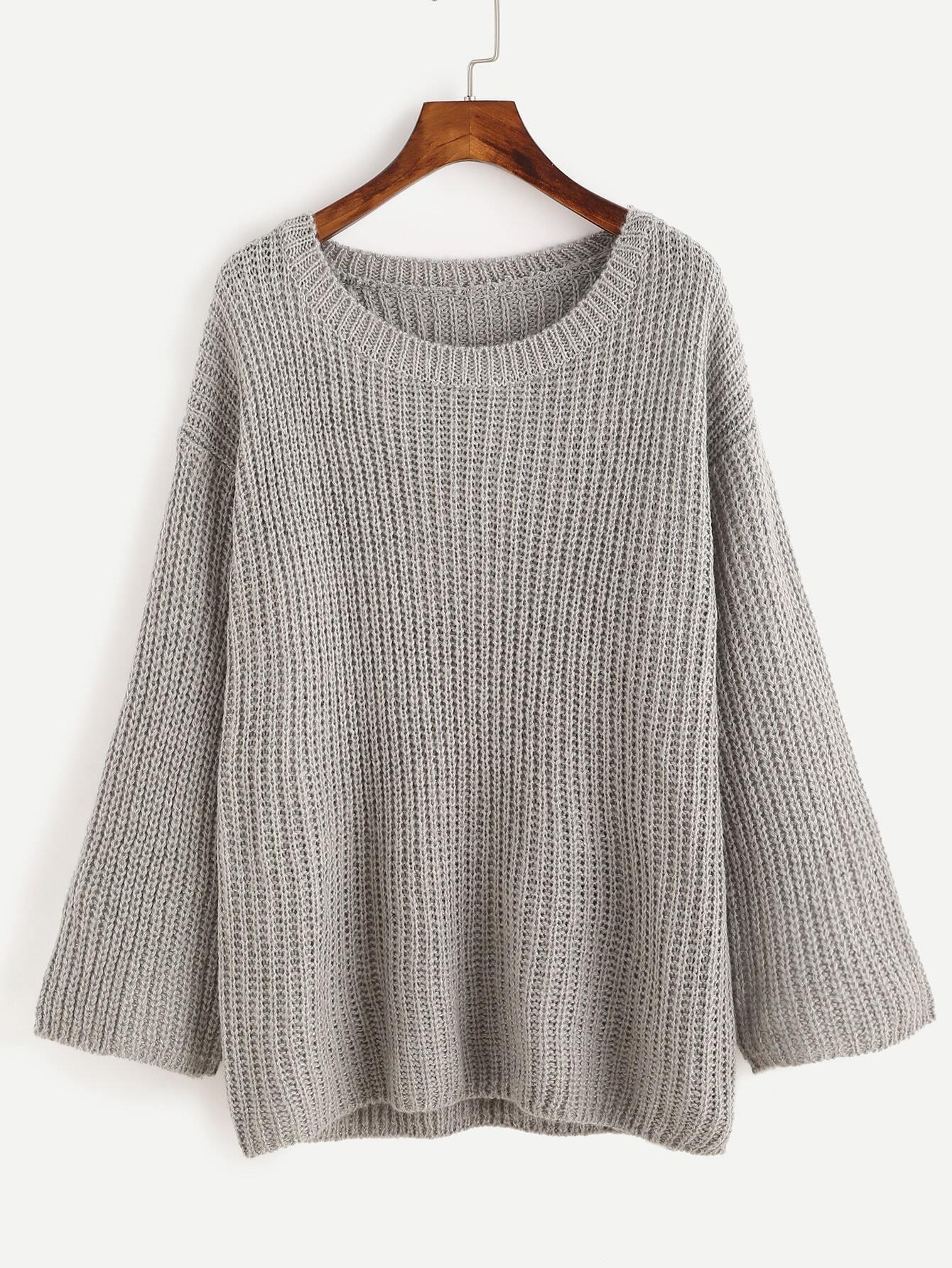 Grey Drop Shoulder Seam Loose Sweater RKNI161005002