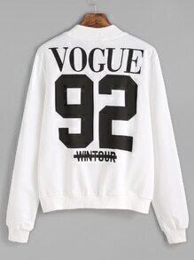 Jacket espalda con estampado de número y letras - blanco