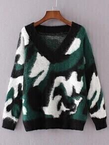 Jersey de hombro caído con estampado leopardo - verde oscuro
