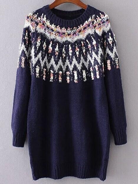 Navy Ribbed Trim Chunky Jacquard Sweater sweater160930221