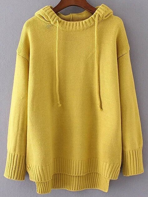 Yellow Drawstring Hooded Dip Hem Sweater sweater160930223