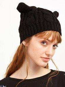 Black Cat Ear Knit Hat