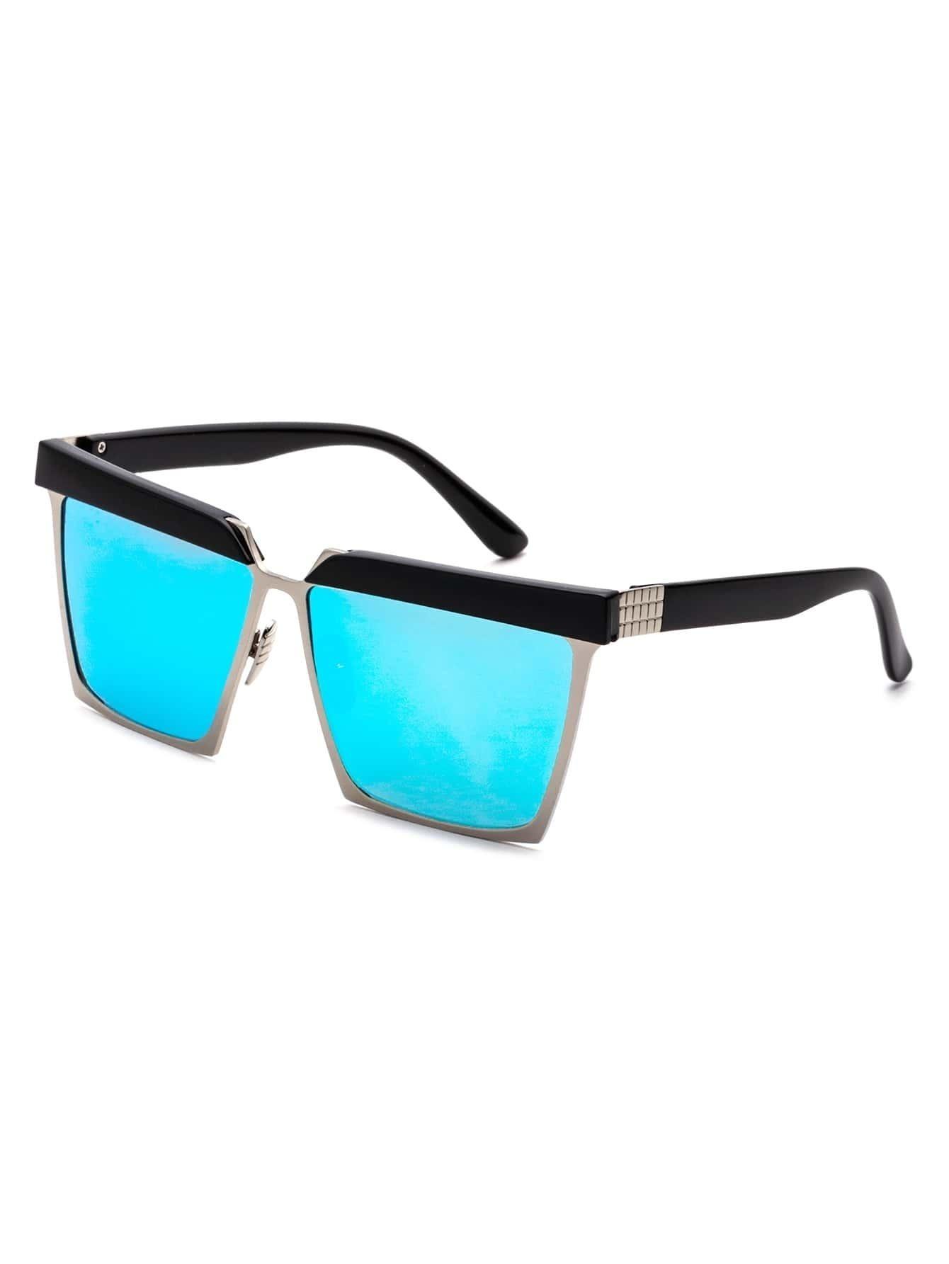 Black Open Frame Blue Lens Sunglasses sunglass161003305