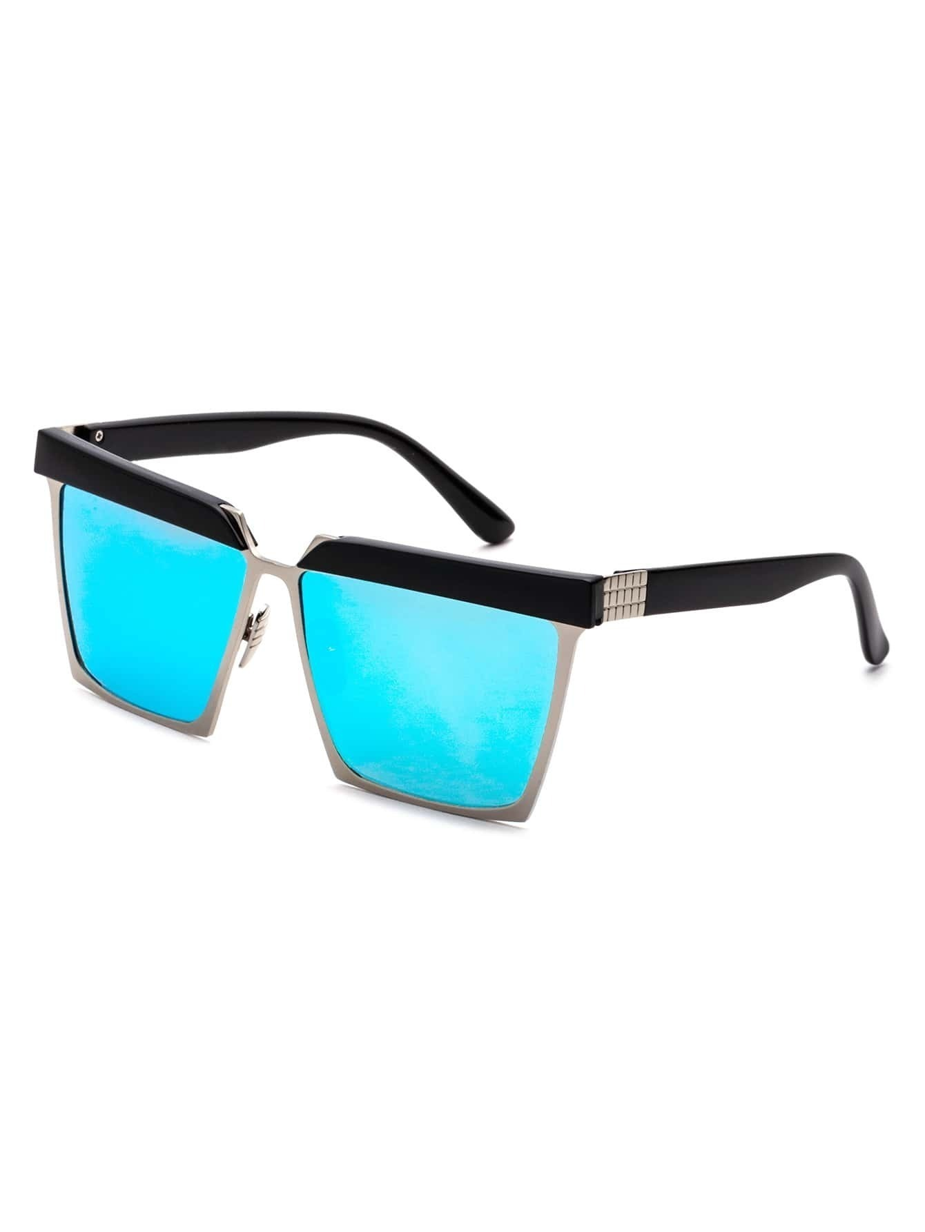 Black Open Frame Blue Lens Sunglasses