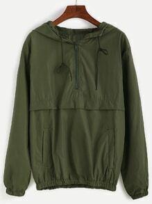 Army Green Hooded Zipper Sweatshirt