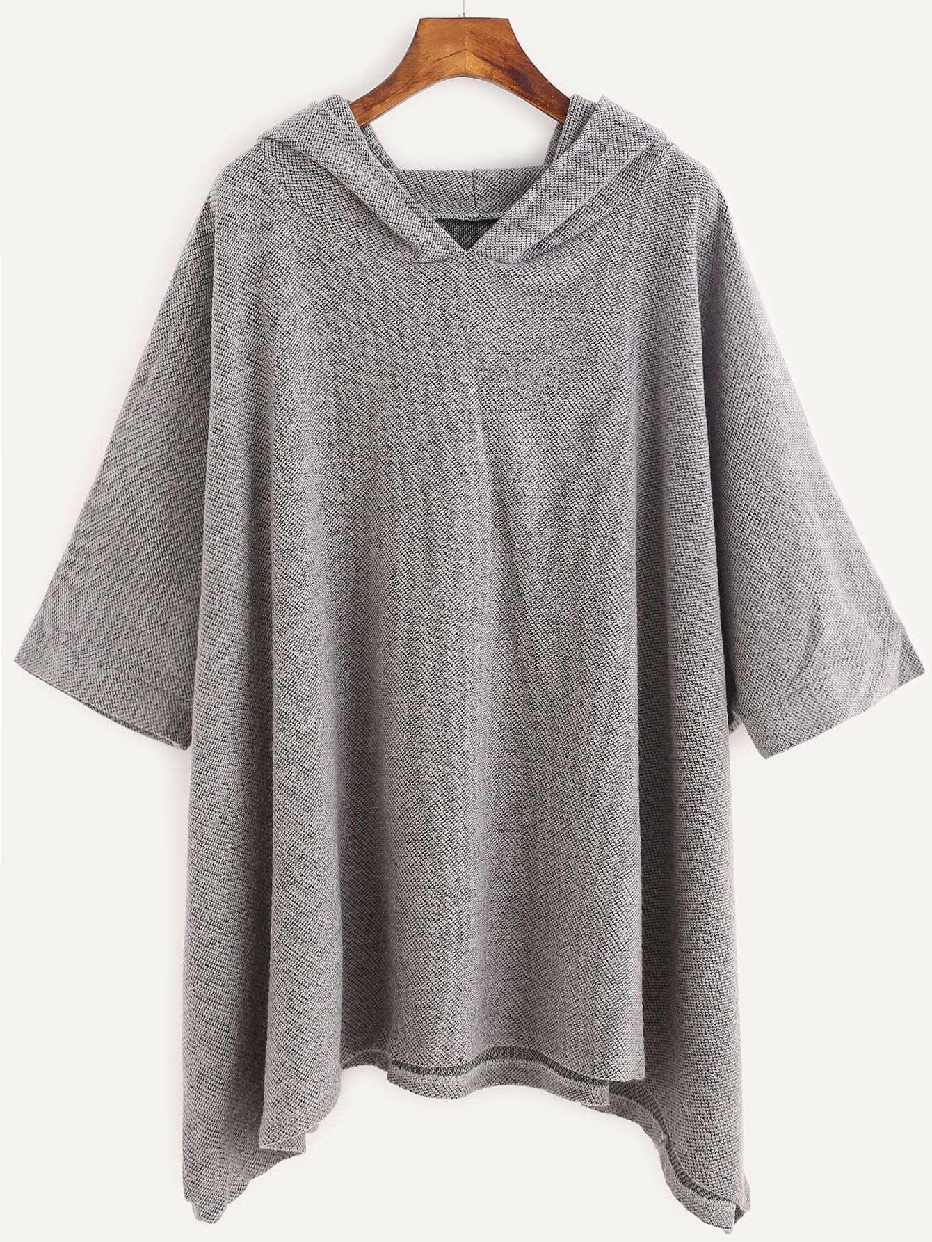 Grey Hooded Loose Sweatshirt
