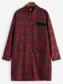 Red Check Plaid Buttons Coat