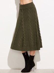 Falda de punto línea A - verde militar