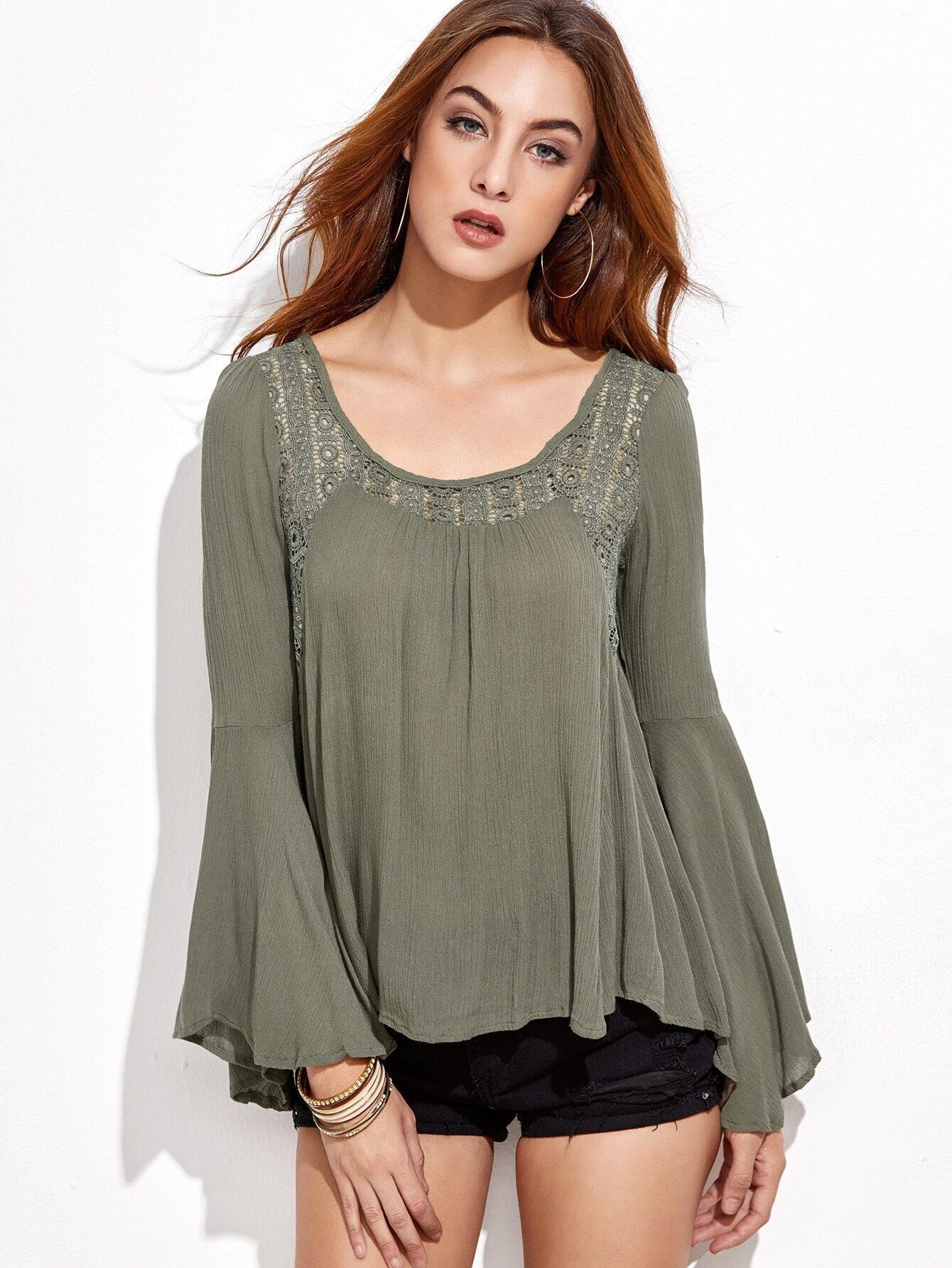 Army Green Lace Insert Bell Sleeve Blouse -ROMWE