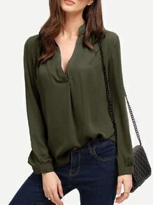 Army Green V Neck Curved Hem Blouse