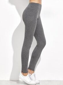 Grey High Waist Vertical Striped Leggings