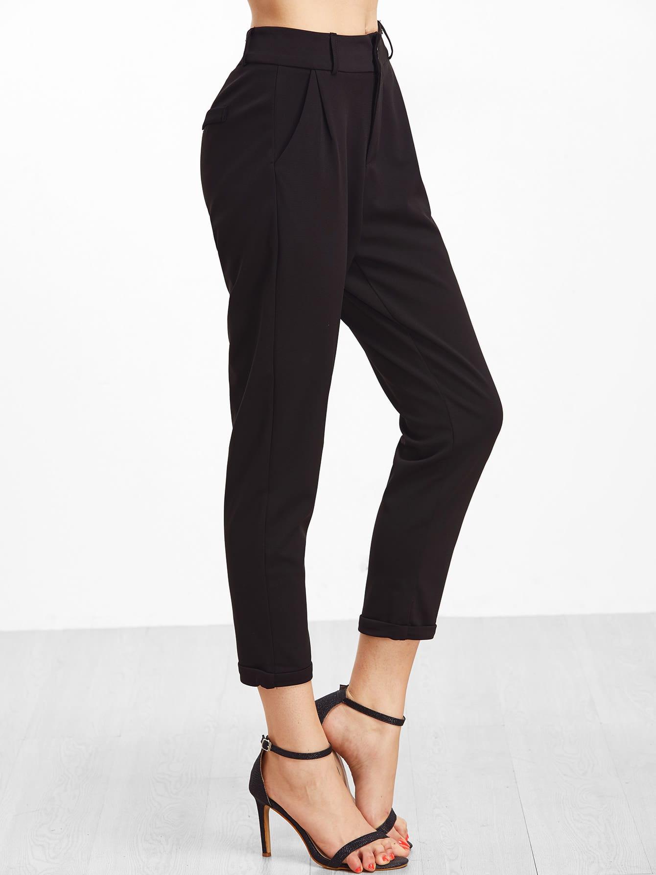 Black Cuffed Patch Pants